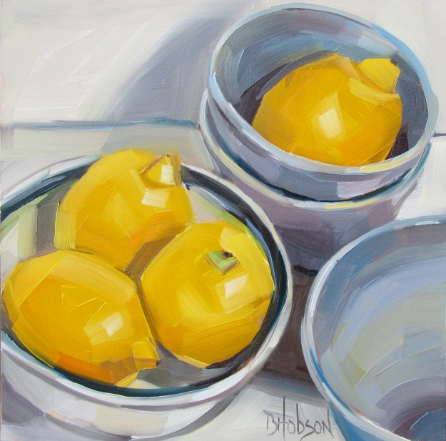 Lemons and Bowls, Original Oil Painting, 6 x 6 panel
