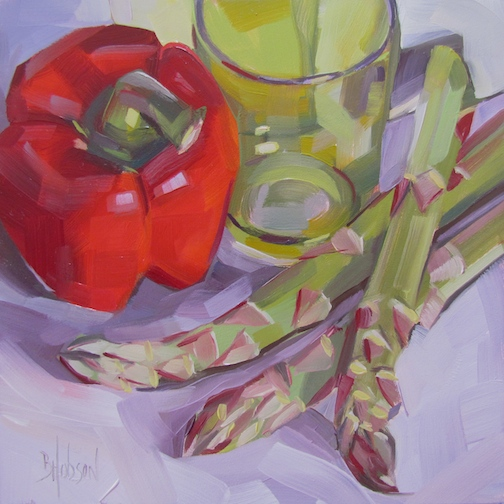 Relaxing with a Red Pepper, Original Oil Painting